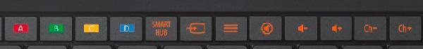 Dettaglio della tastiere sento trust dove possiamo vedere i tasti dedicati alle tv samsung